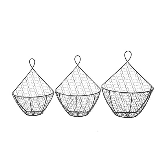 Wall Mounted Brown Metal Fruit Vegetable Baskets, Chicken Wire Hanging Produce Bins, Set of 3 - A decorative and convenient way to store produce. Features a chicken wire design ideal for storing and keeping fruits and produce fresh. Also suitable for storing small toys, shop rags, gloves, mittens, hats, towels, and more. - wall-shelves, living-room-furniture, living-room - 51pqcolGzzL. SS570  -