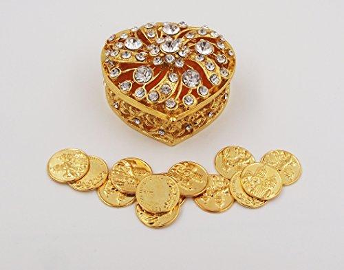 Elegant Gold Rhinestone Heart Wedding Arras Box set with Coins (Arras Box)