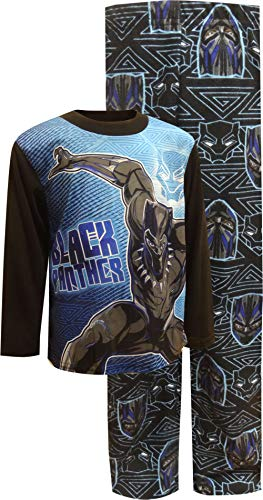 Marvel Little Boys' Black Panther 2-Piece Pajama Set, Vibranium, 8