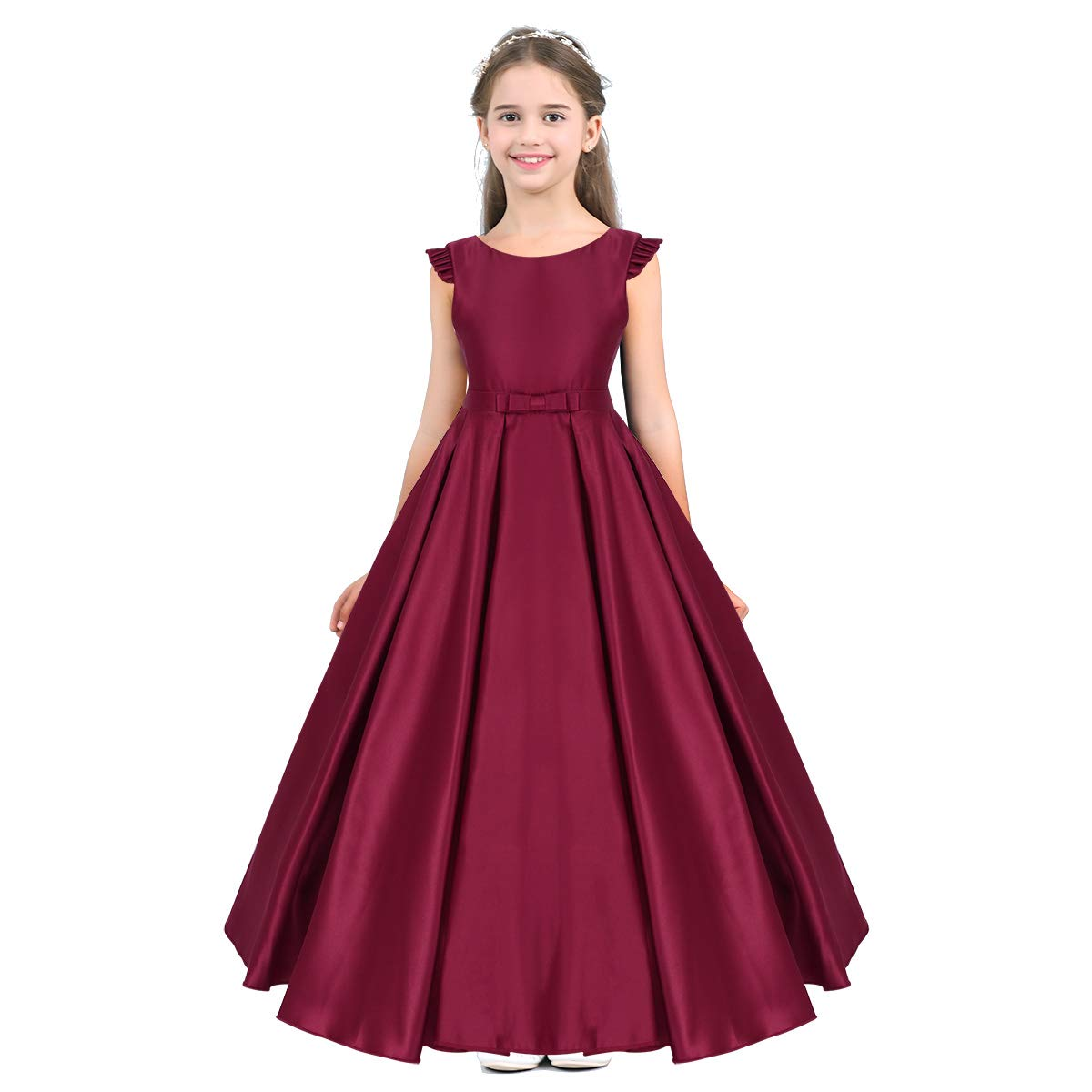 74e072982cd1 iiniim Kids Flower Girl Dress Satin Ruffled Wedding Bridesmaid Dress ...