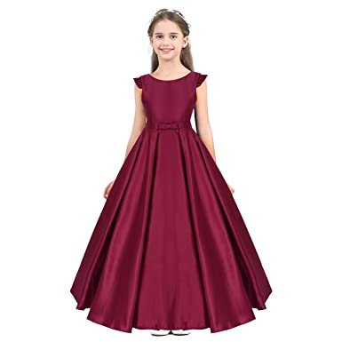 9235e1fd723 CHICTRY Girls  Kids  Satin A-Line Long Ball Gown Party Wedding Bridesmaid  Formal