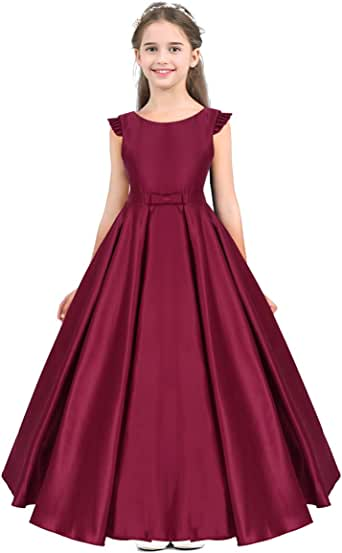 ACSUSS Flower Girls Wedding Bridesmaid Flower Dress Fly Sleeves V Back Satin Birthday Party Formal Floor Length Dress