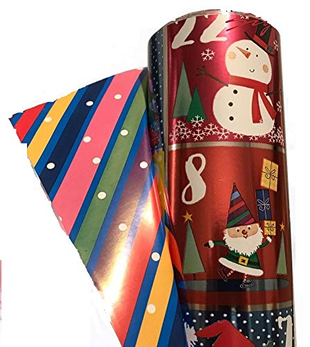 - Kirkland Signature Double Sided Christmas Wrap Foil Christmas Countdown/Paper Stripes 269 sq ft