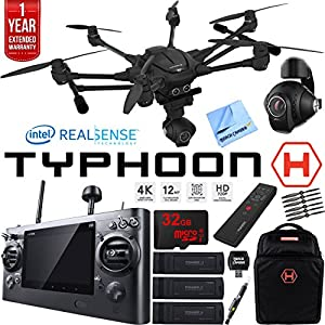 Yuneec TYPHOON H RTF Drone w/ Intel RealSense Tech Ultimate Bundle With Backpack, 32GB Card, 3 Batteries, Wand, Microfiber Cloth and One Year Warranty Extension by Beach Camera