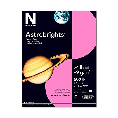 "Astrobrights Color Paper, 8.5"" x 11"", 24 lb / 89 gsm, Pulsar Pink, 500 Sheets"