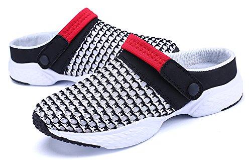 ... Waltzon Kvinners Uformelle Mesh Pustende Slip-on Sandaler Vann Shoess  Lette Sko Svart-red1729 ...