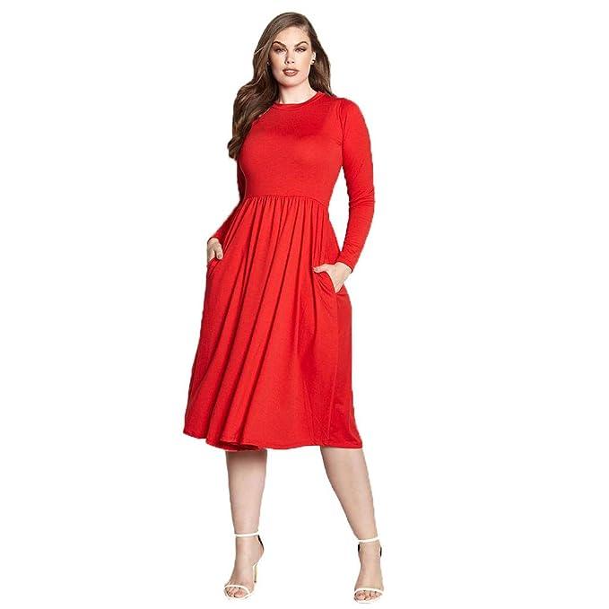 Women\'s Work Dress Office Casual Long Sleeve Skater A-Line Dress Pockets  Plus Sizes