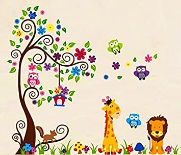 Nursery Forest Animal Wall Decals, Nursery Wall Decals, Giraffe Wall  Stickers, Owl Wall