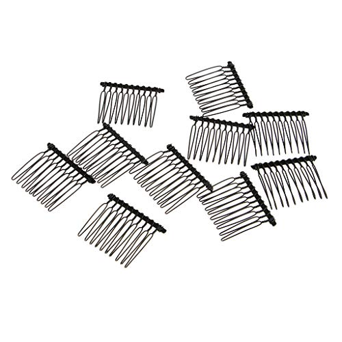 10pieces Metal Hair Combs 10Teeth Slides Clip Bridal Hair Making Accessory (Color - Black)