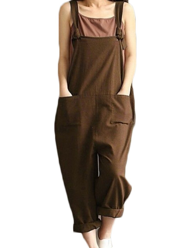 Faithtur Solid Color Ladies Spaghetti Strap Loose Fit Harem Jumper Multi Color Available (Label M/US 6-8, Brown)