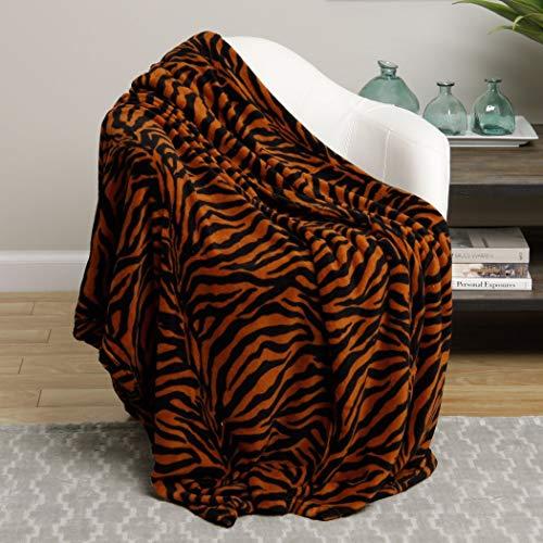 un 1 Piece Brown Black Zebra Theme Blanket Queen, Beautiful Luxury Exotic African Safari Zoo Animal Design, Kids Fun Animal Print Bedding, Fashionable, Vivid Colors, Soft & Cozy Microplush Polyester