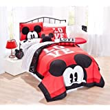 Disney Mickey Classic Luv Full/Queen 80' X 80' 4 Piece Cotton Quilt Set, Black/Red coupon codes 2017