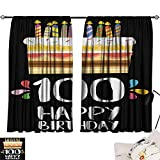 Jinguizi 100th Birthday Bedroom/Living Old Legacy 100 Birthday Party Cake Candles on Black Major Milestone Backdrop Insulating Darkening Curtains Multicolor W55 x L39