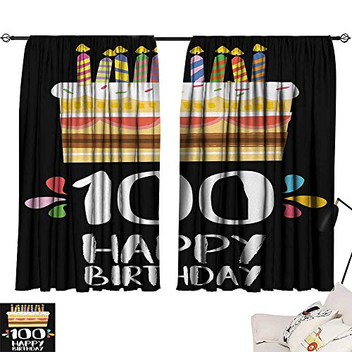 Jinguizi 100th Birthday Room/Bedroom Old Legacy 100 Birthday Party Cake Candles on Black Major Milestone Backdrop Light Darkening Curtains Multicolor W63 x L63