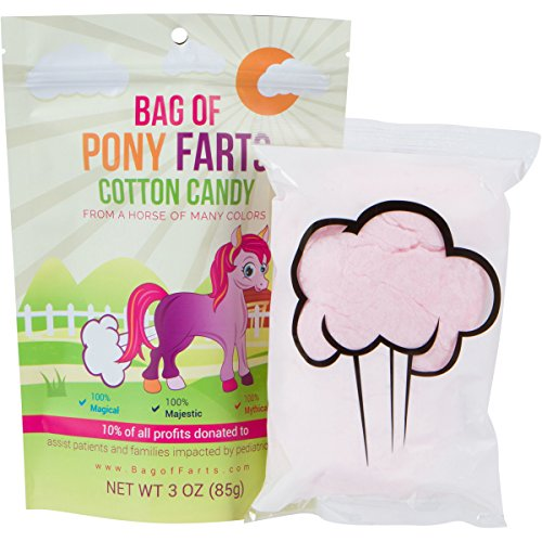 Bag of Farts Cotton Candy Funny for All Ages Unique Stocking Stuffer White Elephant Gag Gift for Friends, Mom, Dad, Birthday Girl, Boy (Pony) (Ten Kids Top For Gifts)