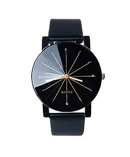 Convex Meridian Strap Montre Bracelet en Cuir pour Homme et Femme, Bracelet en Cuir Noir Dial (Pile Incluse dans la Livraison).