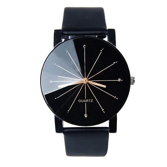 020c42d5c136 Fashion Reloj par Convex Meridian Strap Reloj Hombres y Mujeres Relojes  Banda de Cuero Reloj de
