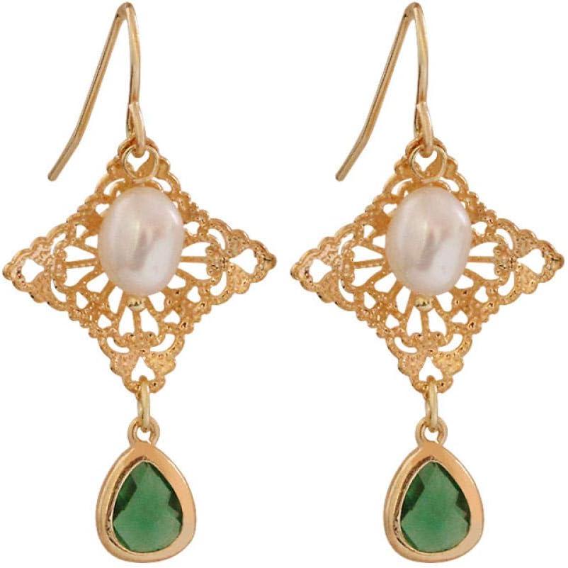 Haespsd Gotas Naturales Pendientes de Perlas Diamante Calado Piedra Preciosa Gancho para la Oreja Corte Barroco 925 Pendientes de Plata