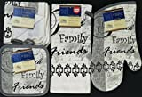 The Pecan Man Home Collection FAITH FAMILY FRIENDS Linen Everyday Kitchen Set of 6 Ovenmitt & 2Potholders & Towel & 2Dishcloths