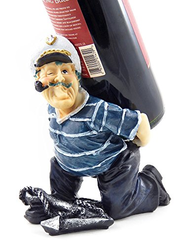Bellaa 25068 Captain Anchore Wine Bottle Holder Statue Nautical Kitchen Bar Decor Wine Stands & Racks Sculpture Gifts ()