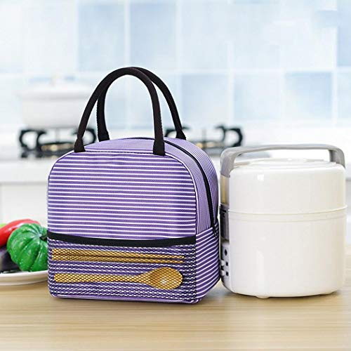 Weardear Portable Stripe Lunch Bag Thermal Canvas Food Container Tote Handbag Lunch Bags from Weardear