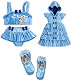 NEW Disney Store Cinderella Girls Swim Set with 9 10 Swimsuit Coverup Flip Flops 2 3