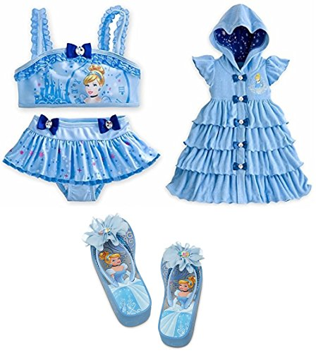 NEW Disney Store Cinderella Girls Swim Set with 9 10 Swimsuit Coverup Flip Flops 2 3 by Cinderella