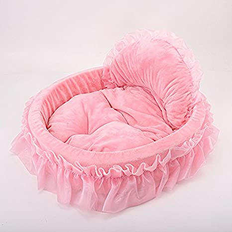 Pet Online Cama Pet Boutique Cute Four Seasons Disponible cálida óvalo Rosa de Perro y Gato