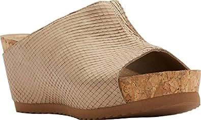 Walking Cradles Women's Tiegan Wedge Slide Sandal,Light Taupe Snake Nubuck,US 4