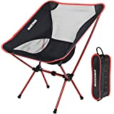 MARCHWAY Ultralight Folding Camping Chair, Portable Compact for Outdoor Camp, Travel, Beach, Picnic, Festival, Hiking, Lightweight Backpacking (Red)