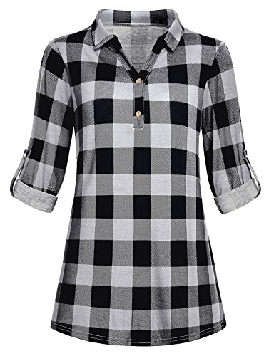 Check Cotton Blouse (Cestyle Black Plaid Shirts Women, Ladies Check Button Front Tops Petite Print Tartan Long Sleeve Tee Cotton Cute Casual Slimming A Line Soft Comfy Tunic Blouse Black M)