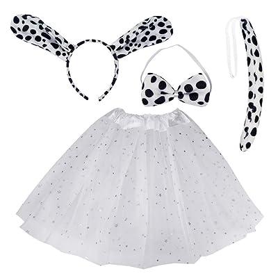 Dalmatian Dog Headband Bow Tie Tail Animal Ears 3 Piece Costume Party Set MP