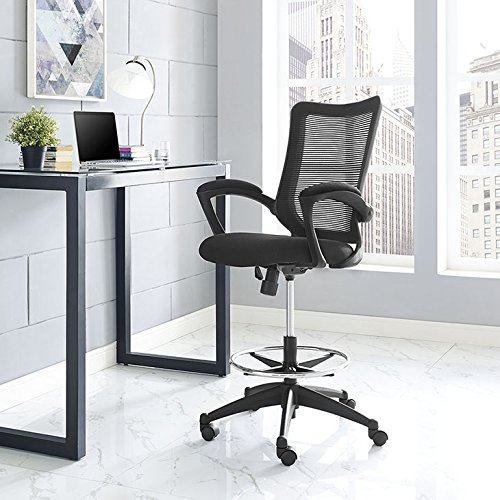 Modway Project Drafting Chair In Black - Reception Desk Chair - Tall Office Chair For Adjustable Standing Desks by Modway