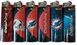 6pc Set BIC Miami Dolphins NFL Officially Licensed Cigarette Lighters