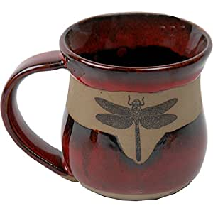 Dragonfly Mug in Real Red Glaze by ALWAYS AZUL POTTERY