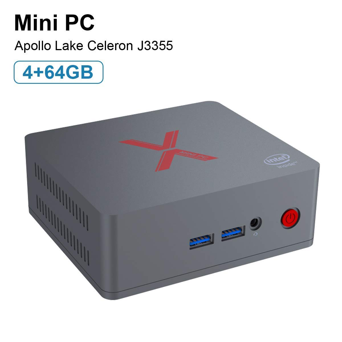 Beelink BT3 Pro II Mini PC 4GB Ram 64GB eMMC Intel Atom x5-Z8350 Multi Media Desktop HDMI VGA Dual Display, Full 4K HD H.265 / 1000Mbps LAN / 2.4G+5.8G Dual WiFi/VESA Mount