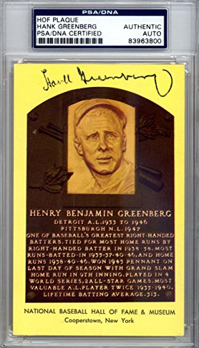 Hank Greenberg Autographed Signed HOF Plaque Postcard Tigers #83963800 PSA/DNA Certified MLB Cut Signatures