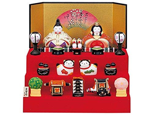 雛人形 コンパクト 陶器 小さい 可愛い ひな人形/錦彩華飾り雛(段飾り) /ミニチュア 初節句 お雛様 おひな様 雛飾り   B006VA3HEY