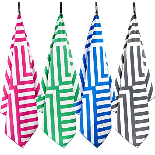 DARCHEN Microfiber Beach Towels Oversize Travel Beach Towel 4 Pack - Quick Dry Towel for Swimming, Sand Free Towel (Large 63x31 inch) for Kids Adult