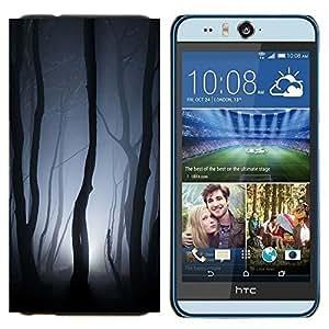 TECHCASE---Cubierta de la caja de protección para la piel dura ** HTC Desire Eye ( M910x ) ** --Luces Bosque Gris noche de miedo
