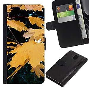 KingStore / Leather Etui en cuir / Samsung Galaxy Note 3 III / Otoño Otoño Amarillo Rain Tree Naturaleza