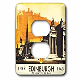 3dRose lsp_169826_6 Edinburgh Quicker by Rail Travel Poster with Horse and Carriage Light Switch Cover