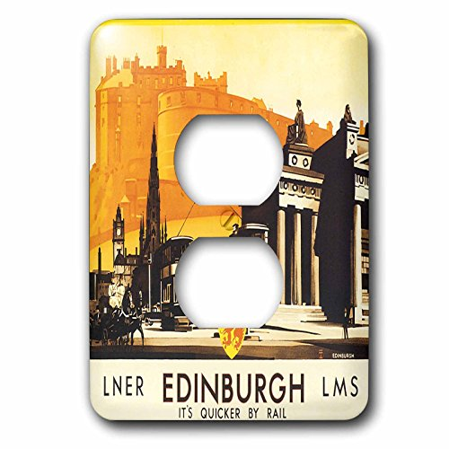 3dRose lsp_169826_6 Edinburgh Quicker by Rail Travel Poster with Horse and Carriage Light Switch Cover by 3dRose