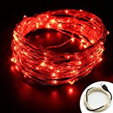 USB String Lights, OFTEN 33ft/10M 100LEDs Copper Wire Starry LED String Lights Silver for Christmas Wedding Party Club Home Indoor Outdoor Decorating (Red)