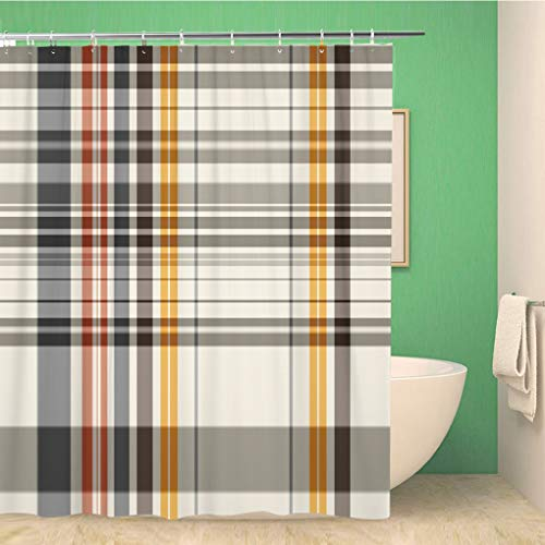 Awowee Bathroom Shower Curtain Pattern Abstract Colorful Check Checkered Plaid Tattersall Line Color Polyester Fabric 60x72 inches Waterproof Bath Curtain Set with Hooks