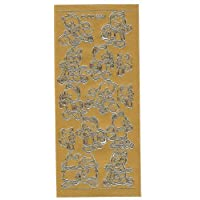 Cats at Play Gold Peel Off Outline Sticker