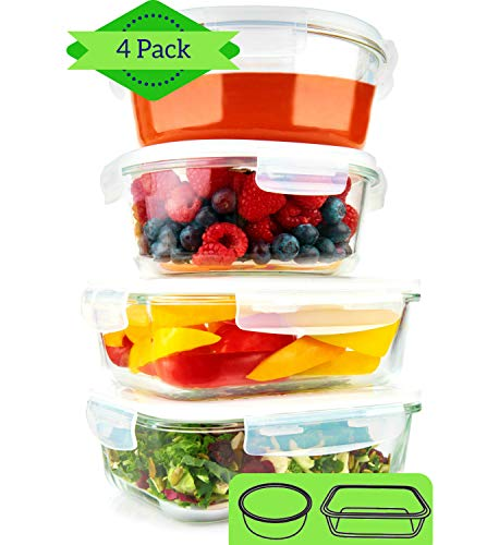 - Glass Meal Prep Containers Round & Rectangle (4 Pack, 35 oz) - Glass Bowls With Lids for Food Storage, Soup Containers, Glass Lunch Containers, Glass Bowl, Salad Containers, Microwave, Dishwasher Safe