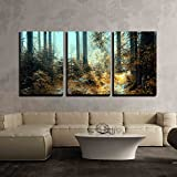 wall26 - 3 Piece Canvas Wall Art - A Breathtaking View as The Sun Shines Through The Forest on a Misty Day. - Modern Home Decor Stretched and Framed Ready to Hang - 16'x24'x3 Panels