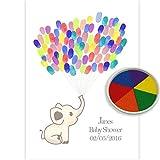 Personalised Baby Shower Elephant Fingerprint tree Keepsake Multi inkpad colour Guest Book Styled (A4)