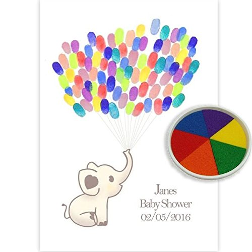 Personalised Baby Shower Elephant Fingerprint tree Keepsake Multi inkpad colour Guest Book Styled (A4) Party Savvy
